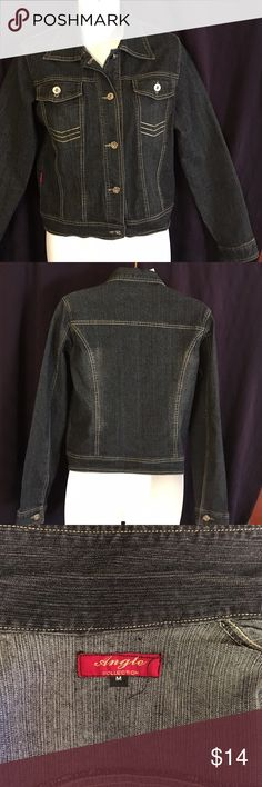 Angle Collection Jean Jacket Never worn! Dark wash denim, Button front, 2 front button pockets, size medium, 65% cotton, 35% polyester Angle Collection Jackets & Coats Jean Jackets