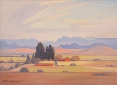 View in the Orange Free State - JH Pierneef South Afrika, African Paintings, Free State, South African Artists, Landscape Paintings, Landscapes, Painting Inspiration, Impressionist, Vintage Art