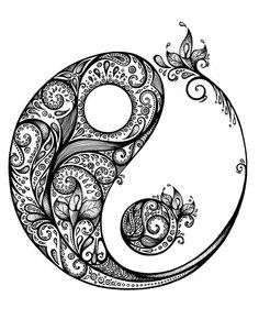 Yin Yang Mandala Coloring Pages Yin Yang Zentangle Yin Yang Tattoos, Tatuajes Yin Yang, Arte Yin Yang, Yin Yang Art, Yin And Yang, Yang Yang, Mandalas Drawing, Mandala Coloring Pages, Zentangles