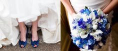 noiva usando sapato azul