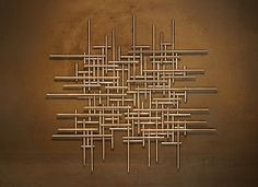 Large Abstract Metal Sculpture Wall Art Modern Silver Tubing Jere Styl | eBay