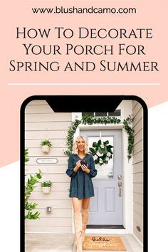I recently decorated my front porch for spring and summer. I love how adding a few pieces of garland, a plant or two, and a wreath can add instant warmth to your home. There is something so inviting about porch decor that makes people want to stop by for awhile! #frontporch #porchdecor #homedecor #frontporchideas #frontporchdecorating