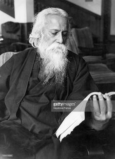 The Indian writer Rabindranath Tagore reading a book in the 1930s.