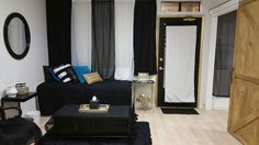 Black and white with gold and blue accents. Spa Lounge, Scalp Micropigmentation, Beauty Lounge, Blue Accents, Bridal Makeup, Photo Studio, Black And White, Gold, Furniture