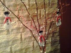 pletení sněhuláci na zavěšení