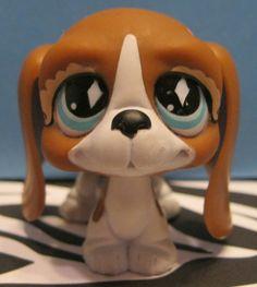 Littlest Pet Shop #502 Brown & White Basset Hound Puppy Dog w/ Pink Bows