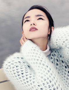 angora sweater.. and makeup
