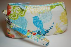 Coraline Wristlet mini  Birds and Flowers by BusyBirdee on Etsy
