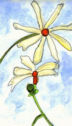 """""""Flower Series,"""" Watercolor and Ink on Paper."""