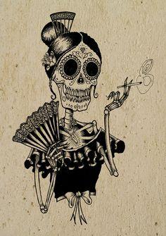 Dia de los muertos. Day of the dead art. dead senorita.