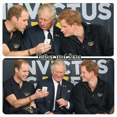 Prince Charles and his sons are having fun on something they see at Prince Williams I-phone But my thoughts are that Prince Charles thinks what are you talking about anyway too funny #fatherandsons #princeCharles #PrinceWilliam #PrinceHarry #willemandharry #InvictusGames #britishroyals