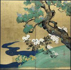 Screen by Japanese artist Sakai Hoitst 酒井抱一