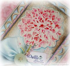 A tutorial on using Tim Holtz Distress MArkers. The stamp is the Dahlia stamp by Crafty Secrets.