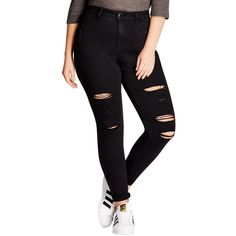 Plus Size Women's City Chic Rock 'N' Roll Destroyed Skinny Jeans ($89) ❤ liked on Polyvore featuring plus size women's fashion, plus size clothing, plus size jeans, black, plus size, destroyed skinny jeans, destroyed jeans, distressed skinny jeans, plus size destroyed jeans and plus size ripped skinny jeans