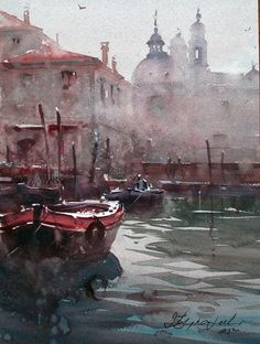Dusan Djukaric, boats in canal in Venice, watercolor, 28x375-cm