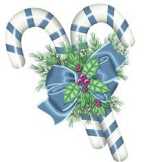 CHRISTMAS BLUE CANDY CANES CLIP ART