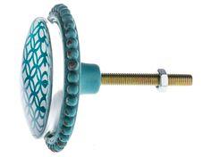 Large Blue Pewter Knob with Center Design