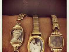 Re-Purposed Items - www.jfitzjournal.com -repurposed watch ~ Love this idea, but where can you find a picture that small?