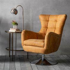 Bristol Swivel Chair, Saddle Tan