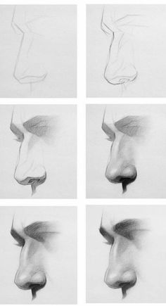 Noses drawing reference and noses drawing tutorial Pencil Art Drawings, Art Drawings Sketches, Realistic Drawings, How To Draw Realistic, How To Draw A Nose, Easy Drawings, Nose Drawing, Painting & Drawing, Drawing Step
