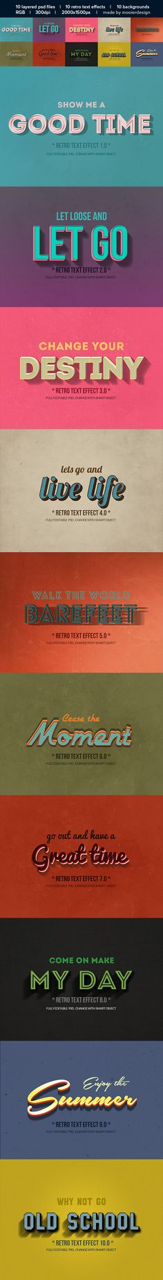 Vintage Retro Text Effects Vintage Designs, Retro Vintage, 3d Typography, Travel Brochure, Text Effects, Live Life, Design Elements, Old School, Presentation