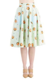 Foxy Flirting Skirt. Youre always up for playful banter when sporting the sly creatures on this mint-green A-line! #mint #modcloth