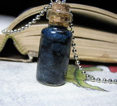 Night Sky and Stars in a Bottle Necklace - Dark Clouds Cork Glass Vial Pendant…