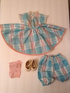 Vintage 50s Sweet Sue 24 Inch Doll Dress Set Aqua Pink Plaid Original