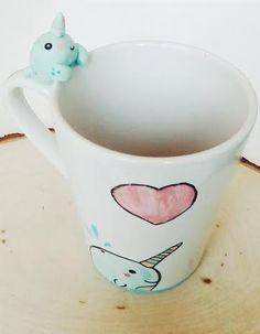 Kawaii Narwhal Polymer Clay and Hand Painted Mug by WarmthToMySoul Kawaii Diy, Kawaii Chibi, Fun Arts And Crafts, Diy And Crafts, Kawaii Narwhal, Hand Painted Mugs, Chloe, Cute Clay, Cute Mugs