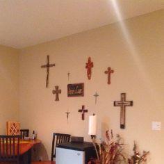I put all the crosses Matt and I have been given over the years or that I have found on one wall instead of in different rooms...