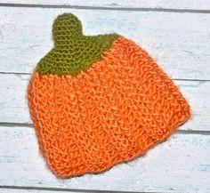 newborn pumpkin hat by SweetBabiesinYarn on Etsy, $20.00