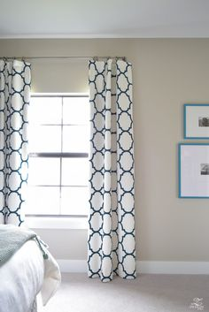 Navy-aqua bedroom with Kravet Riad Navy Curtains-1