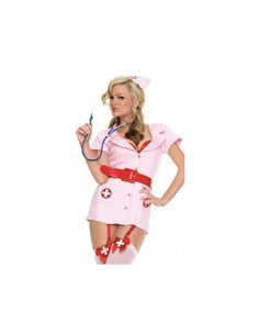 Stunning 4 Piece Sexy Nurse Halloween Costume includes Dress, Belt, g-string and Headpiece. Stockings Are Not Included.  Wear for a Halloween party or event and be a hit or for a special planned evening indoors.  A definite Must Have!