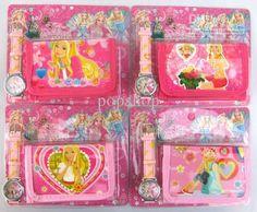 lots of 20 pcs Beautiful cartoon Barbie Girl wrist watches + 20 wallets Gift