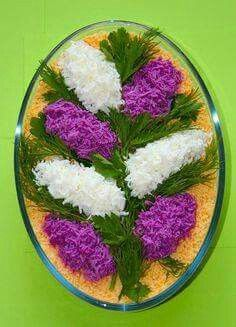 Pretty Persian food, salad design ♦๏~✿✿✿~☼๏♥๏花✨✿写☆☀🌸🌿🎄🎄🎄❁~⊱✿ღ~❥༺♡༻🌺<MO Feb ♥⛩⚘☮️ ❋ Food Design, Salad Design, Design Design, Salad Decoration Ideas, Salad Ideas, Food Carving, Food Garnishes, Garnishing, Food Tags