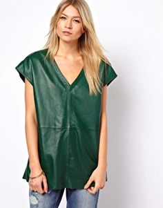 Green Leather Tunic With Plunge Neck