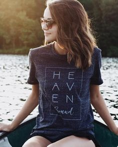 """This is a super-soft unisex tee with """"Heaven Bound"""" design. FIT: Unisex - Runs true to size. *Onyx with vintage white design Size Bust/Chest Inches XS 30-32 Small 34-36 Medium 38-40 Large 42-44 XL 46-"""