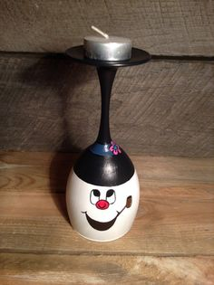 Frosty the snowman wine glass candle holder by LettesStayClassy