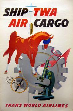 TWA - AIR CARGO (HORSE) by David Klein 1960's