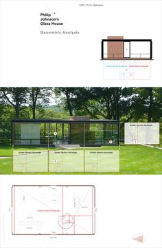 Philip Johnson's Glass House is a stunning glass walled structure of meticulous proportions based on the golden section. New House Plans, House Floor Plans, Villa Design, House Design, Casa Farnsworth, Philip Johnson Glass House, Interior Design History, Build Your Own House, Glass Facades