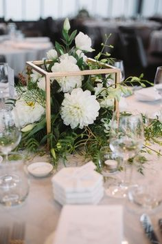 White green and gold. A simple and elegant touch to guest tables for weddings an. - My Dream Wedding. Gold Wedding Centerpieces, Green Centerpieces, Wedding Table Centerpieces, Wedding Decorations, Wedding Ideas, Centrepieces, Floral Wedding, Wedding Colors, Wedding Flowers