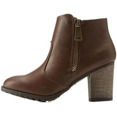 Charlotte Russe Brown Side-Zipper Chunky Heel Booties by Charlotte... ($36) ❤ liked on Polyvore featuring shoes, boots, ankle booties, brown, short boots, short brown boots, brown boots, brown bootie and chunky ankle boots