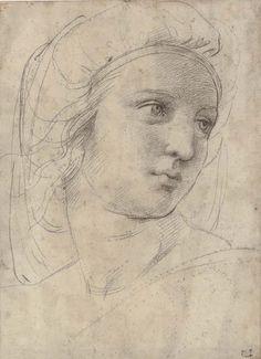 Raffaello-Studio testa di una musa per il Parnaso, circa 1510,Gesso e tracce di stilo ,30.5 × 22.2 cm,collezione privata