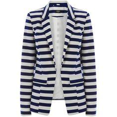 OASIS The Anais Jacket (23.835 CLP) ❤ liked on Polyvore featuring outerwear, jackets, blazers, casacos, multi, print jacket, nautical jacket, stripe blazer, striped jacket and print blazer