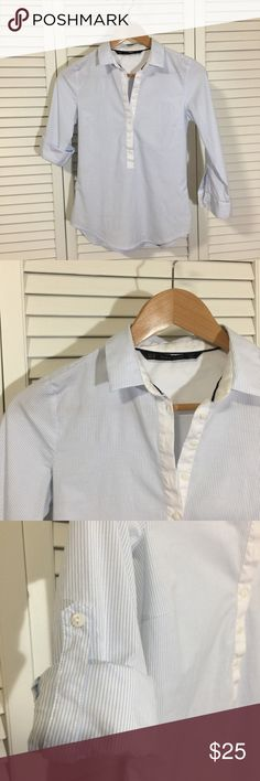 Zara Dress Shirt 🔳 perfect condition 🔳 in need of a new posh owner ✨  💠 cleaning my closet // open for reasonable offers 💠 no trades, please. Zara Tops Button Down Shirts