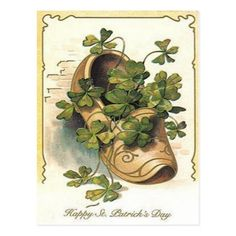 Shop Vintage Shamrock Clog St Patrick's Day Card created by kinhinputainwelte. St Paddys Day, St Patricks Day, Vintage Greeting Cards, Vintage Postcards, Meaning Of Christmas, Postcard Art, Quilling, Clovers, Brown Shoe