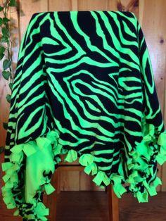 """Hand tied Neon Green Zebra Print Fleece Blanket 57""""x 50"""" GREAT GIFT!!"""