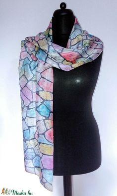 Egyedi kézzel festett színes batikolt selyemsál (katasilks) - Meska.hu