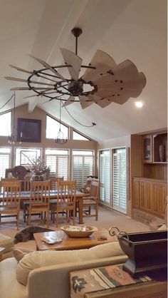 Quorum International Galvanized Windmill 15 Blade Hanging Indoor Ceiling Fan with Reversible Motor, and Blades A Frame House, Cabin Decor, Rustic House, Farmhouse Style Ceiling Fan, New Homes, House, Home Decor, House Interior, Barn House Interior