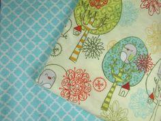Baby Blanket Handmade Birds in Trees Print Flannel Personalized Blanket Baby Shower Gift Stroller Blanket
